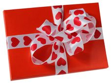 Free Red Parcel With A White Ribbon Stock Images - 18006874