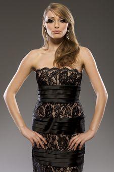 Free Beautiful Blond Model In Black Dress Royalty Free Stock Image - 18006996