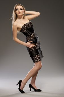 Free Beautiful Blond Model In Black Dress Royalty Free Stock Image - 18007066