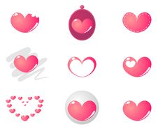 Free 9 Cute Pink Hearts Vector Set Royalty Free Stock Images - 18007409