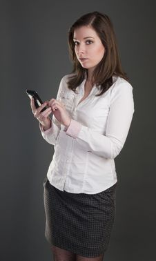 Beautiful Woman With Mobile Phone Stock Image