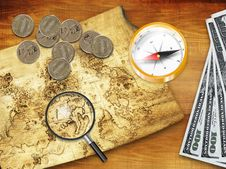 Money, Magnifier, Compass, Card Royalty Free Stock Photography