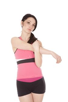 Free Woman In Pink Fitness Stretching Stock Photography - 18008862