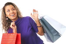 Free Curly Young Woman Shopping Stock Photo - 18009370