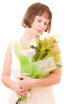 Free Girl With A Bouquet. Stock Photography - 18009372