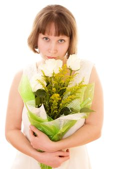 Free Girl With A Bouquet. Stock Image - 18009391