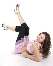 Free Naughty Young Lady In Pink Dress Lie On The Floor Stock Images - 18009714