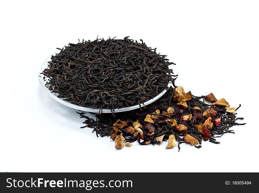 Black tea leaves with dried fruit tea
