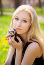 Free Girl With A Polecat Stock Photos - 18014053