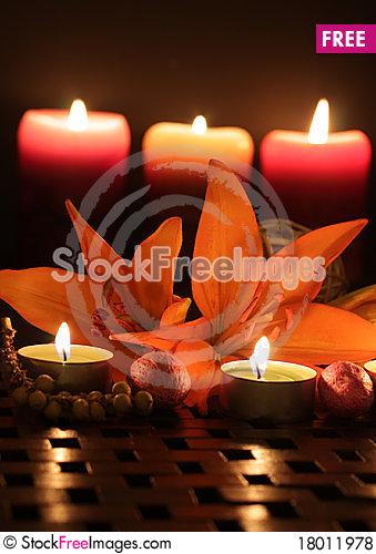 Free Lilies By Candlelight. Royalty Free Stock Photos - 18011978
