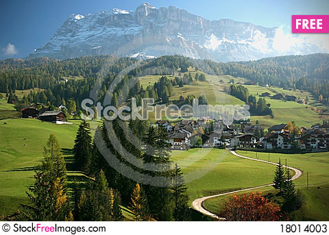 Free Italian Alps Mountain And Village Scene Stock Photos - 18014003