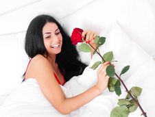 Free Woman With A Rose Stock Photos - 18010403