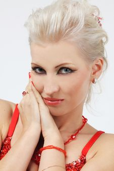 Fashion Model With Blond Hair Stock Photography