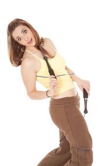 Woman Jump Rope Tangles Stock Image
