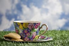 Free Floral Cup Of Coffee With Cookies Royalty Free Stock Photography - 18011647