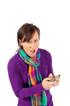 Woman Frustrated By Phone Stock Photo