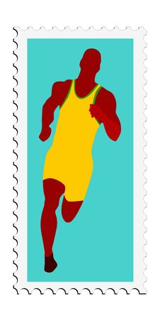Athletics. Vector Stamp Stock Photography