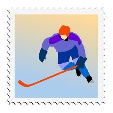 Free Hockey. Vector Stamp Royalty Free Stock Images - 18012959