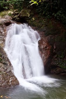 Free Waterfall In A Tropical Forest Stock Image - 18013131