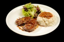 Steak Meal With Rice And Salad Stock Photos
