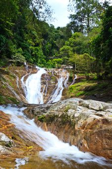 Free Waterfall In A Tropical Forest Stock Photo - 18013290
