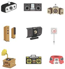 Cartoon Radio Icon Stock Photo