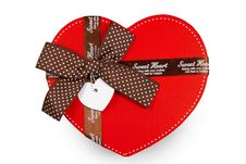 Gift Box As Heart With Ribbon Isolated Stock Photo