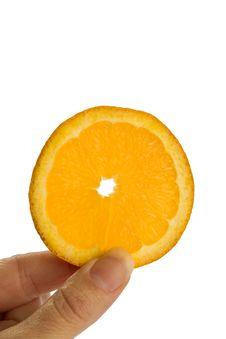 Free Holding An Orange Slice Stock Photography - 18013962