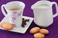 Free Cup Of Coffe, Milk And Biscuits Stock Photo - 18014650