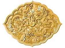 Free Golden Dragon Decorated On Red Wood Stock Photo - 18015150