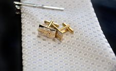Free Wedding Cufflinks And Tie Stock Photography - 18015522
