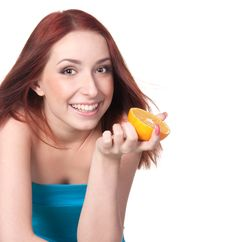 Free A Woman With An Orange Stock Image - 18016501