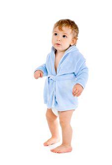 Free Baby In Blue Bathrobe Stock Photo - 18017660