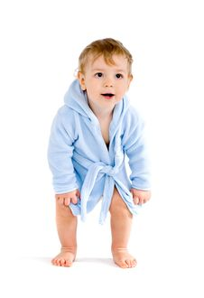 Free Baby In Blue Bathrobe Stock Images - 18017674