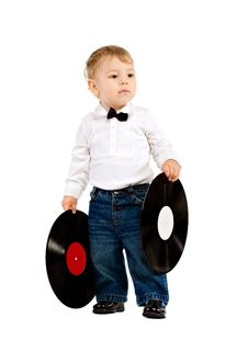 Free The Little Boy With Phonograph Records On White Royalty Free Stock Photography - 18017707