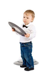 Free The Little Boy With Phonograph Records On White Stock Image - 18017711