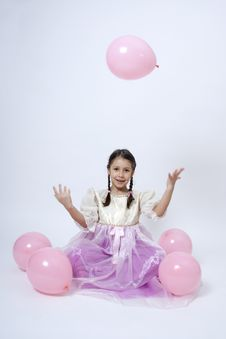 Free Little Princess With Pink Balloons Stock Photos - 18017803