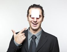 Free Young Man With Blank Note On The Face Stock Photo - 18020400