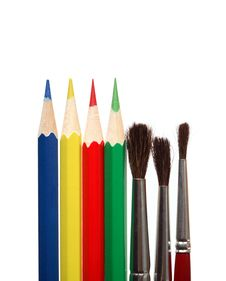 Free Paintbrushes And Color Pencils Royalty Free Stock Photo - 18021355