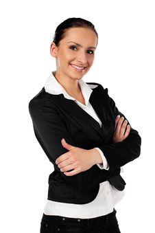 Businesswoman On White Background Smiling Royalty Free Stock Photos