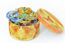 Many Colorful Fashion Bracelets In Box Royalty Free Stock Photography