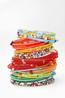 Many Colorful Fashion Bracelets Royalty Free Stock Photos