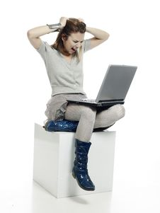 Girl With Laptop Computer Royalty Free Stock Photos