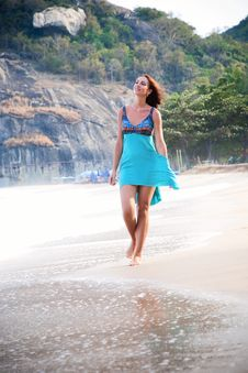 Woman On The Beach Royalty Free Stock Photos