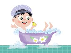 Free Boy In The Bath CMYK Stock Images - 18024554
