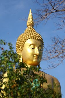 Free Big Golden Buddha With Blue Sky. Stock Images - 18024734