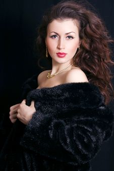 Beautiful Woman In A Black Fur Royalty Free Stock Photo