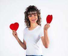 Free Young Beautiful Girl  Hugs A Big Soft Heart. Royalty Free Stock Image - 18026136