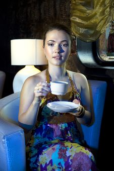Free Woman Drinking Tea In Restaurant Royalty Free Stock Image - 18026896