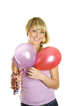 Free Beautiful Young Woman With Balloons Royalty Free Stock Photography - 18027417